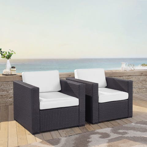 Biscayne White Wicker Outdoor Arm Chairs (Set of 2)