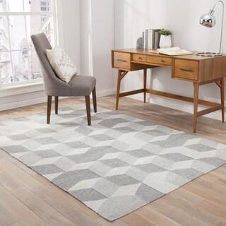 "Malkin Indoor/Outdoor Geometric Gray Area Rug (8' X 10') - 7'10"" x 9'10"""
