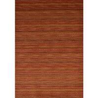 ecarpetgallery Hand-Knotted Luribaft Gabbeh Riz Red  Wool Rug (5'3 x 7'7)