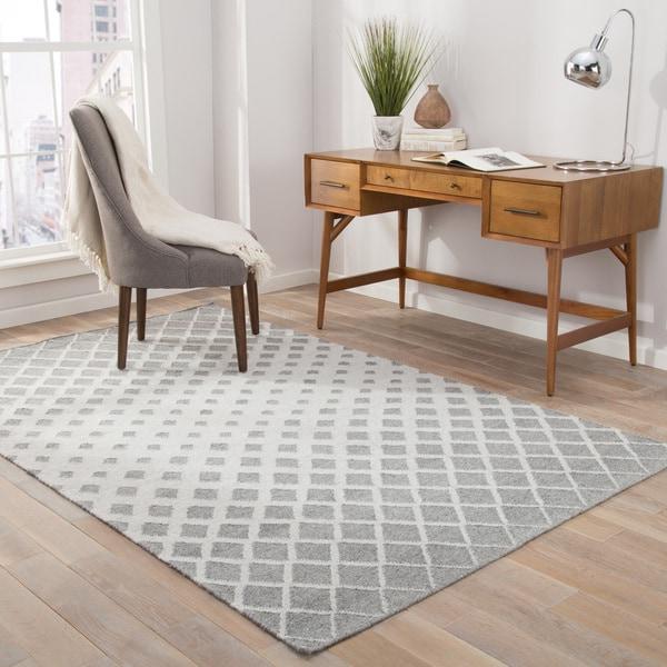 Nelson Indoor/Outdoor Geometric Gray/ White Area Rug (8' X 10') - 8' x 10'