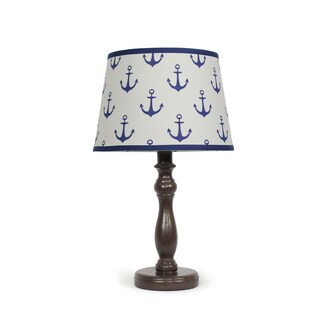 The Peanut Shell Espresso Navy Anchors Lamp