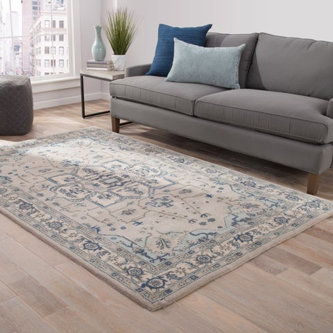"Copper Grove Kaniksu Handmade Medallion Light Grey/ Indigo Area Rug - 7'10""x9'10"""