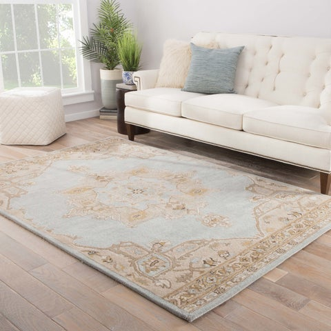 "Copper Grove Aubrey Falls Handmade Medallion Gray/ Tan Area Rug - 7'10""x9'10"""