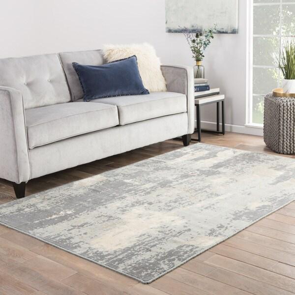 Hermosa Abstract Gray/ Cream Area Rug (2' X 3')