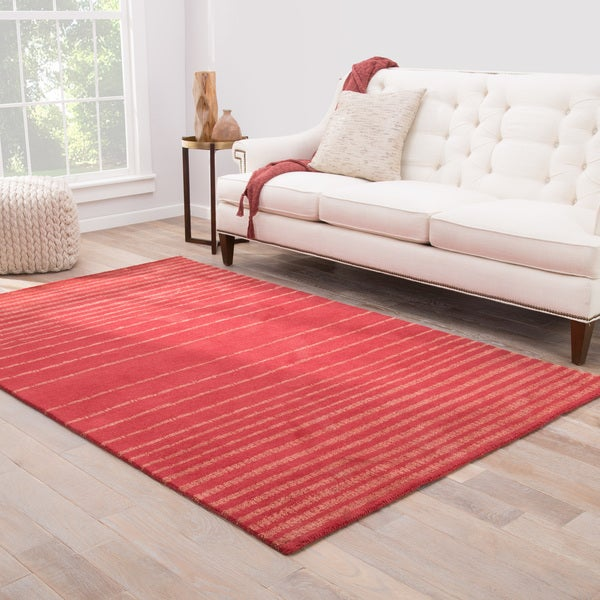 Comet Handmade Stripe Red/ Pink Area Rug (8' X 11') - 8' x 11'