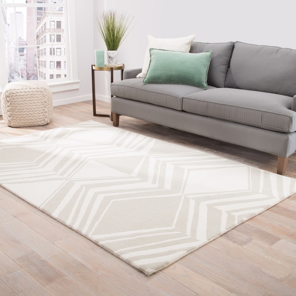 Brixton Handmade Abstract Cream/ Taupe Area Rug (8' X 11') - 8' x 11'