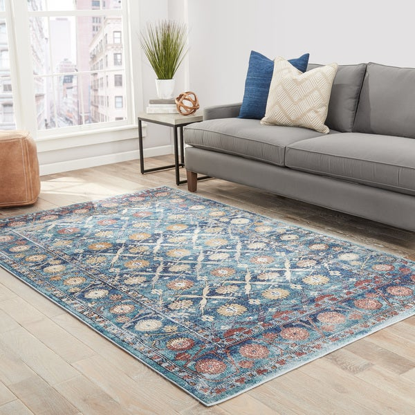 Florean Floral Blue/ Gold Area Rug (2' X 3') - 2' x 3'