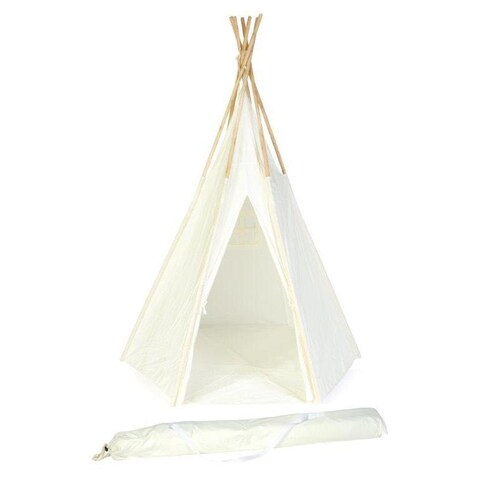 Trademark Innovations 7' Giant White New Zealand Wood Teepee with Carry Case