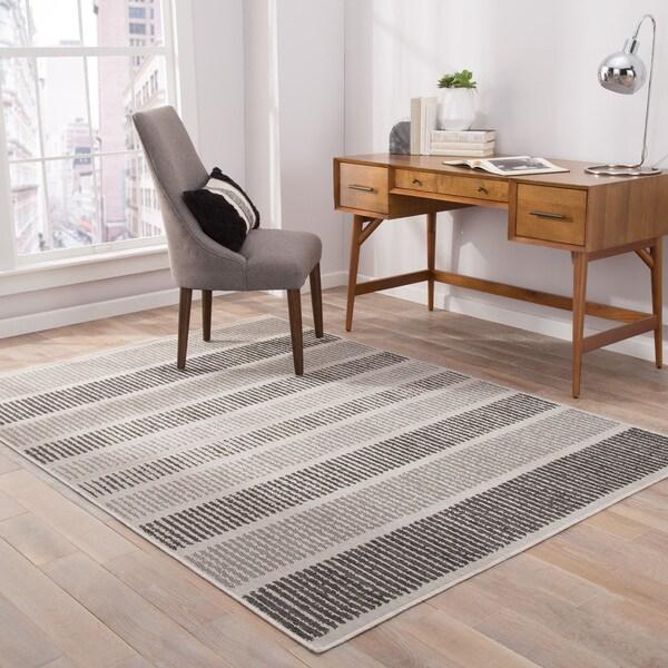"Felton Indoor/ Outdoor Stripe Gray/ Black Area Rug (7'6"" X 9'6"") - 7'6"" x 9'6"""