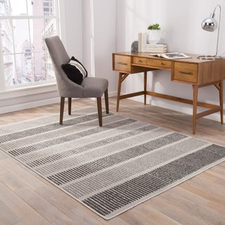 "Felton Indoor/ Outdoor Stripe Gray/ Black Area Rug (7'6"" X 9'6"")"