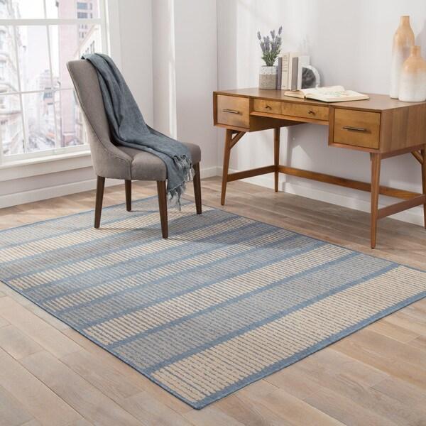 """Felton Indoor/ Outdoor Stripe Blue/ Beige Area Rug (7'6"""" X 9'6"""") - 7'6"""" x 9'6"""""""