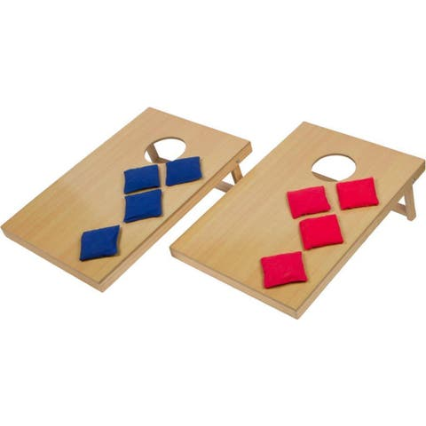 """Trademark Innovations 24"""" Mini Tabletop Bean Bag Toss Game For Indoor Use - Tan"""