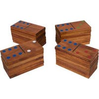 """Trademark Innovations 7"""" 28-Piece Giant Wood Dominoes Set with Carry Bag"""