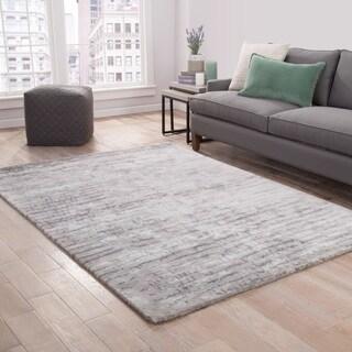 Catao Handmade Abstract Gray/ Silver Area Rug (2' x 3')