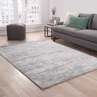 Catao Handmade Abstract Gray/ Silver Area Rug (2' x 3') - 2' x 3'