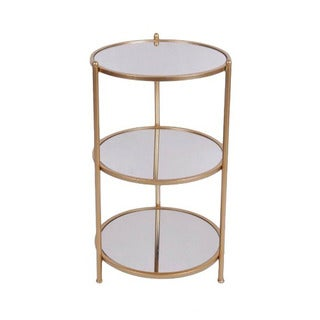 Cheung's 3-tier Round Gold Metal Table with Mirror