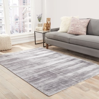 Lizette Handmade Solid Gray/ Silver Area Rug (2' X 3')