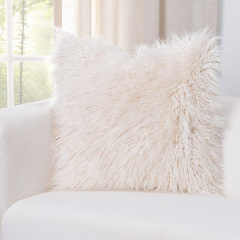 Siscovers Llama Cream Faux Fur Designer Throw Pillow