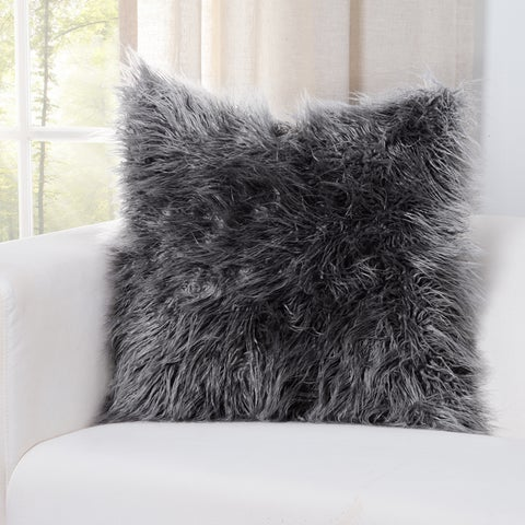 Siscovers Llama Charcoal Faux Fur Throw Pillow