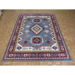 Hand Knotted Blue Kazak with Wool Oriental Rug (8'11 x 11'10)