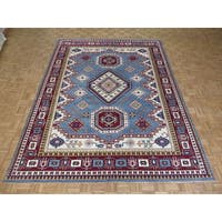 Hand Knotted Blue Kazak with Wool Oriental Rug - 8'11 x 11'10