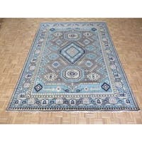 Kazak Oriental Grey Wool Hand-knotted Rug - 8'10 x 11'10
