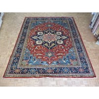 Serapi Heriz Brick Red Wool Hand-knotted Oriental Rug - 11'10 x 14'6
