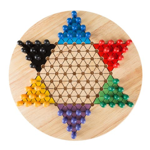 Hey! Play! Chinese Checkers Game Set with 11 inch Wooden Board and Traditional Pegs