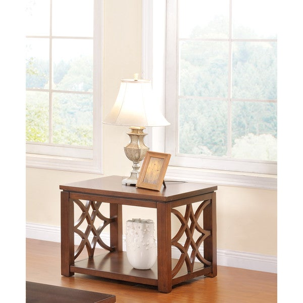 LYKE Home Hiller Brown Wood End Table