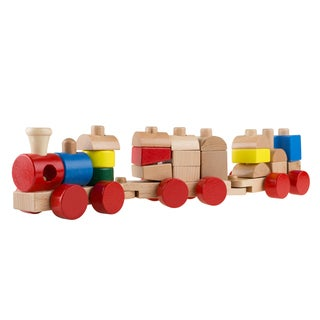 Hey! Play! Stacking Learning Train Set with 20 Interchangeable Wooden Blocks - Red/Blue/Yellow/Brown