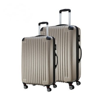American Traveler Striped Gold 2-piece Lightweight Anti-scratch Hardside Spinner Luggage Set