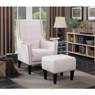 LYKE Home Barista Beige Fabric Upholstered Accent Chair and Ottoman Set