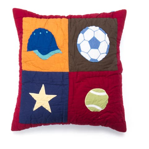 Cottage Home Sports Patchwork Cotton 16 Inch Throw Pillow