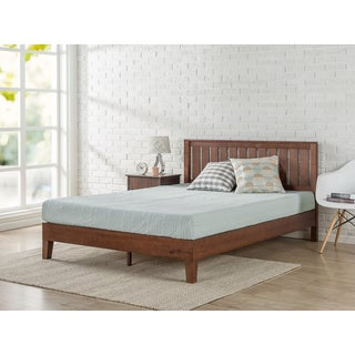 priage deluxe antique espresso solid wood platform bed with headboard - Antique Queen Bed Frame