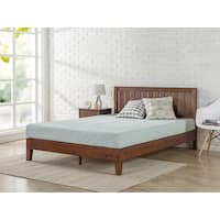 Priage Deluxe Antique Espresso Wood Platform Bed with Headboard