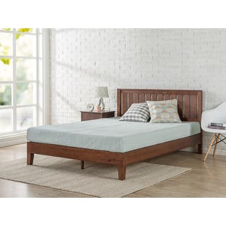 priage deluxe antique espresso solid wood platform bed with headboard - Wood Frame Bed