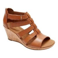 Women's Rockport Briah Gladiator Sandal Dark Tan Leather