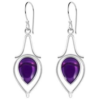 Orchid Jewelry 9 Carat Amethyst 925 Sterling Silver Dangle Earrings