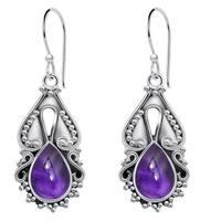 Orchid Jewelry 4 Carat Amethyst 925 Sterling Silver Handmade Earrings