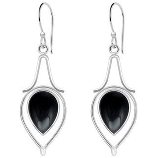Orchid Jewelry 9 1/2 Carat Black Onyx 925 Sterling Silver Dangle Earrings