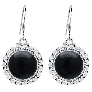 Orchid Jewelry 925 Sterling Silver 8 Carat Black Onyx Round Dangle Earrings