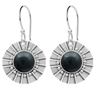 Orchid Jewelry 925 Sterling Silver 8 Carat Blood Stone Jasper Dangle Earrings