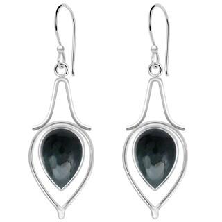 Orchid Jewelry 10 Carat Blood Stone Jasper 925 Sterling Silver Dangle Earrings