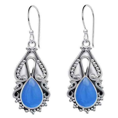 Chalcedony Sterling Silver Pear Dangle Earrings by Orchid Jewelry