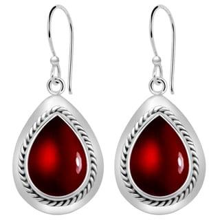 Orchid Jewelry 10 1/2 Carat Garnet 925 Sterling Silver Dangle Earrings