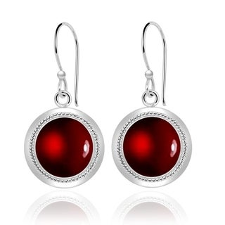 Orchid Jewelry Sterling Silver 8 1/2 Carat Garnet Cabochon Round Dangle Earrings