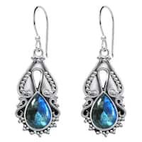 Orchid Jewelry 4 1/2 Carat Labradorite 925 Sterling Silver Oxidized Earrings