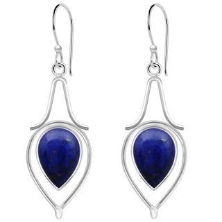 Orchid Jewelry 10 1/2 Carat Lapis 925 Sterling Silver Dangle Earrings