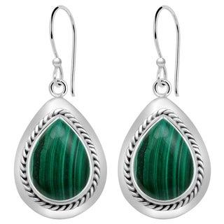 Orchid Jewelry 10 1/2 Carat Malachite 925 Sterling Silver Dangle Earrings