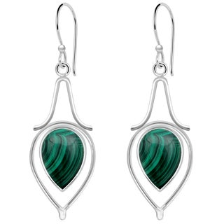 Orchid Jewelry 10 1/2 Carat Malachite 925 Sterling Silver Dangle Earrings